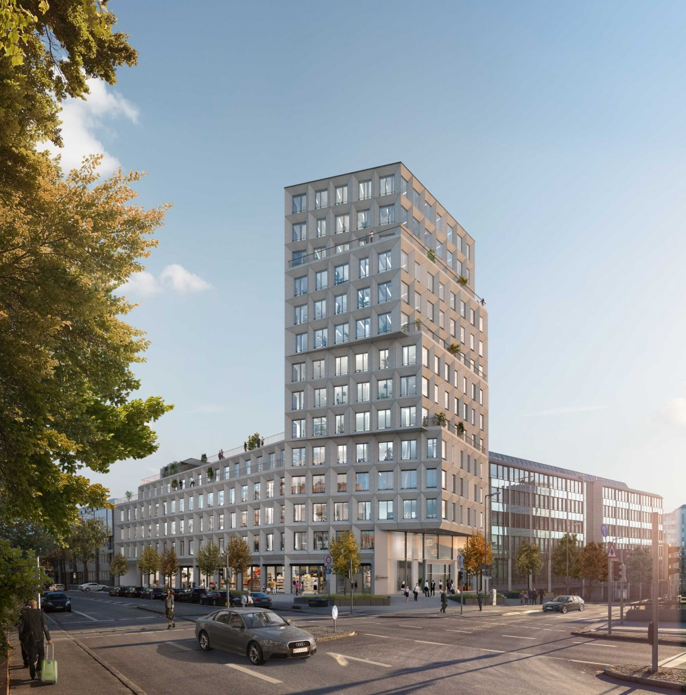 Visualisierungen Heimeran Bürotower, Heimeranplatz München Fertigstellung 2022, Architekten: OSA - Fix Visuals